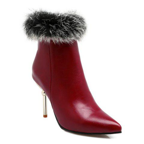 Discount Pointed Toe Faux Fur Top Ankle Boots WINE RED 40