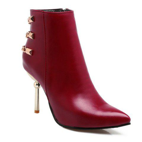 Store Rivet Chains Pointed Toe Ankle Boots