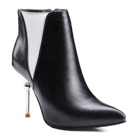 Fashion Pointed Toe Color Block Ankle Boots