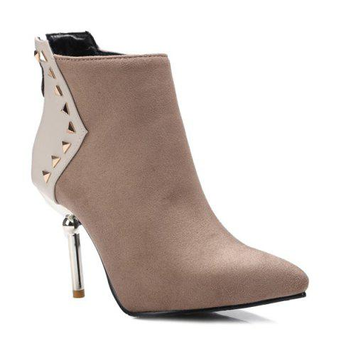 Best Triangle Rivet Pointed Toe Suede Panel Ankle Boots