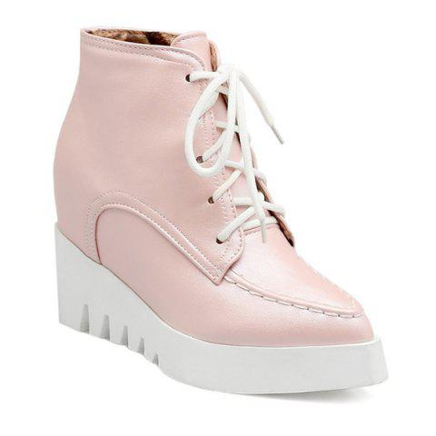 Fashion Pointed Toe Lace Up Wedge Heel Boots PINK 38