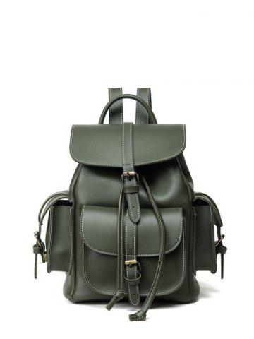 New Stitching Multi Pockets Buckle Straps Backpack