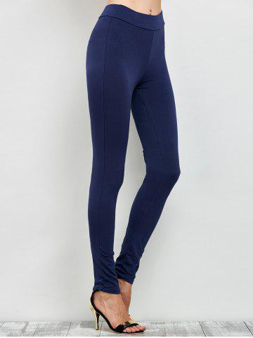 Buy Elastic High Waist Leggings with Zippers - M CADETBLUE Mobile