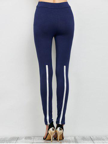 Chic Elastic High Waist Leggings with Zippers - M CADETBLUE Mobile