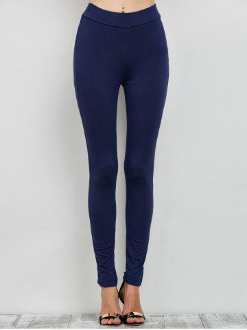 Latest Elastic High Waist Leggings with Zippers - M CADETBLUE Mobile