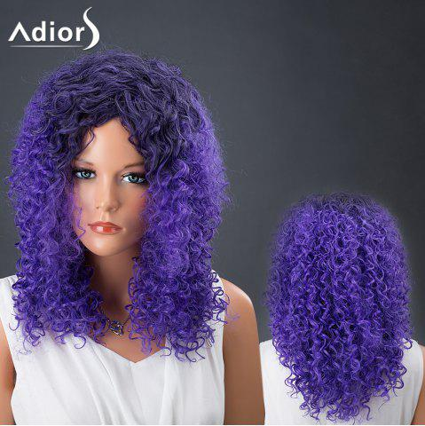 Store Adiors Hair Medium Colormix Afro Curly Synthetic Wig BLUE/BLACK