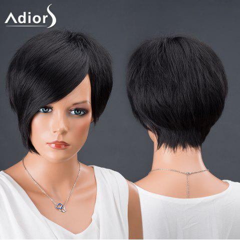 Shop Adiors Hair Bobs Short Side Bang Asymmetric Srtraight Synthetic Wig BLACK