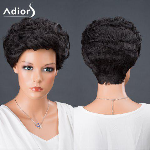 Discount Adiors Hair Short Curly Synthetic Wig BLACK