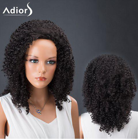 Affordable Adiors Hair Medium Afro Curly Faddish Synthetic Wig BLACK