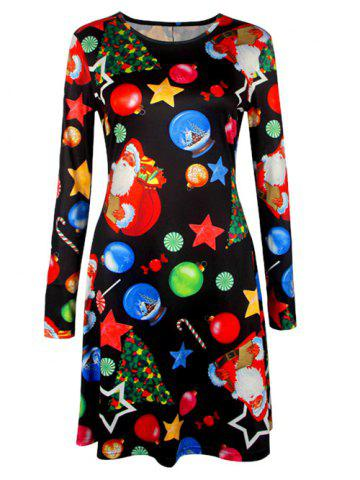 Sale Knee Length Christmas Tree Star Dress BLACK 2XL