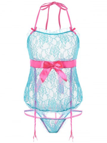 Latest Open Back Sheer Halter Lace Babydoll