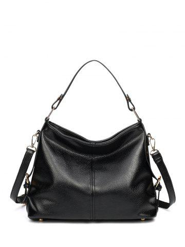 Buy Double Buckle Textured Leather Metal Tote Bag - Black