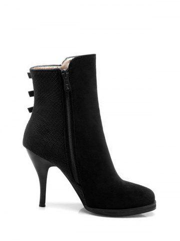 Cheap Embossing Zipper Metal Ankle Boots