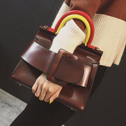 Affordable Large Buckle Color Block Handle Tote