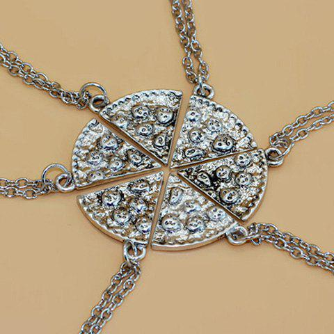 Trendy 6PCS Sector Carving Best Friend Necklace SILVER