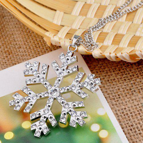 Affordable Christmas Snowflake Pendant Sweater Necklace Chain - SILVER  Mobile
