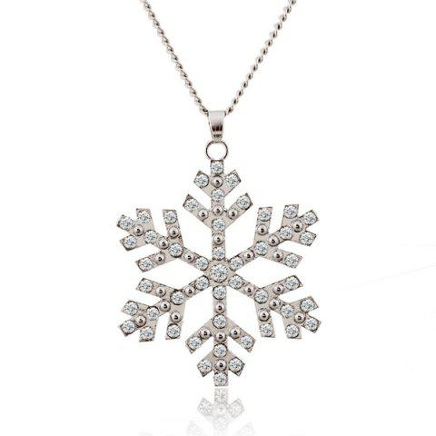 Unique Christmas Snowflake Pendant Sweater Necklace Chain SILVER