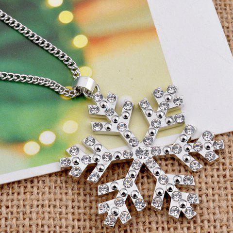 Latest Christmas Snowflake Pendant Sweater Necklace Chain - SILVER  Mobile
