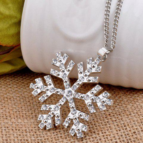 Online Christmas Snowflake Pendant Sweater Necklace Chain - SILVER  Mobile