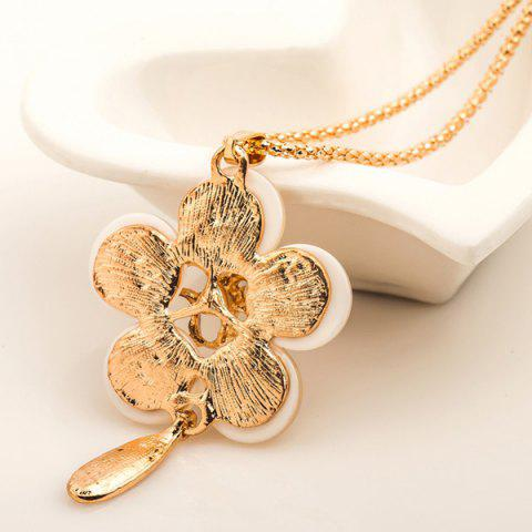 Affordable Faux Opal Gem Hollow Out Floral Pendant Sweater Chain - GOLDEN  Mobile