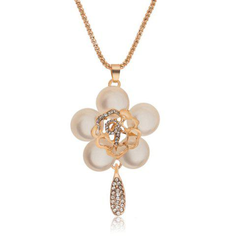 Online Faux Opal Gem Hollow Out Floral Pendant Sweater Chain GOLDEN