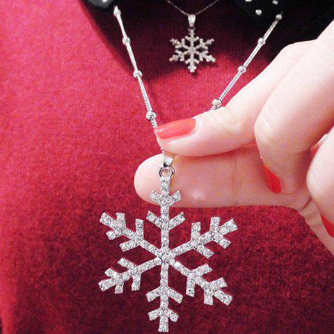 Affordable Christmas Layered Rhinestone Snowflake Sweater Chain SILVER
