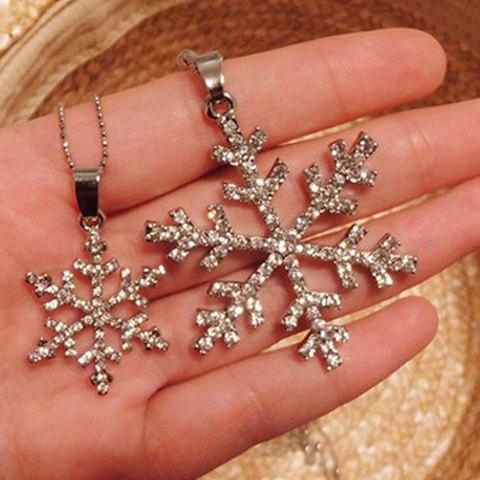 Cheap Christmas Layered Rhinestone Snowflake Sweater Chain - SILVER  Mobile