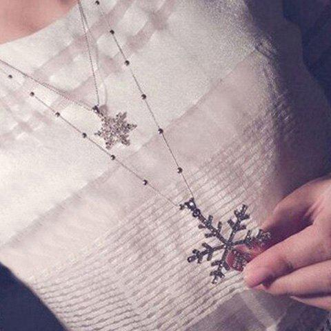 Trendy Christmas Layered Rhinestone Snowflake Sweater Chain - SILVER  Mobile