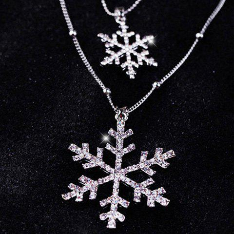 Sale Christmas Layered Rhinestone Snowflake Sweater Chain - SILVER  Mobile
