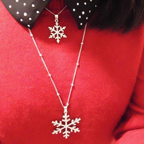 New Christmas Layered Rhinestone Snowflake Sweater Chain - SILVER  Mobile