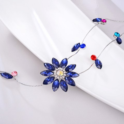Online Floral Faux Crystal Sweater Chain - BLUE  Mobile