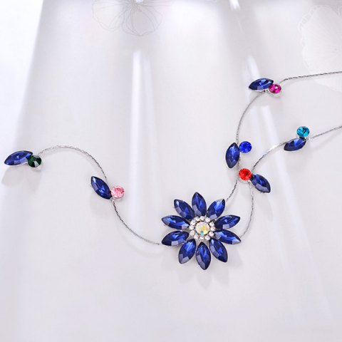 Discount Floral Faux Crystal Sweater Chain - BLUE  Mobile