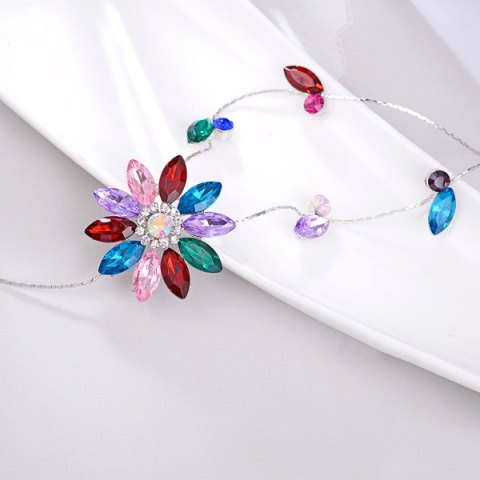 Outfits Floral Faux Crystal Sweater Chain - RED  Mobile
