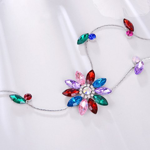 Discount Floral Faux Crystal Sweater Chain - RED  Mobile