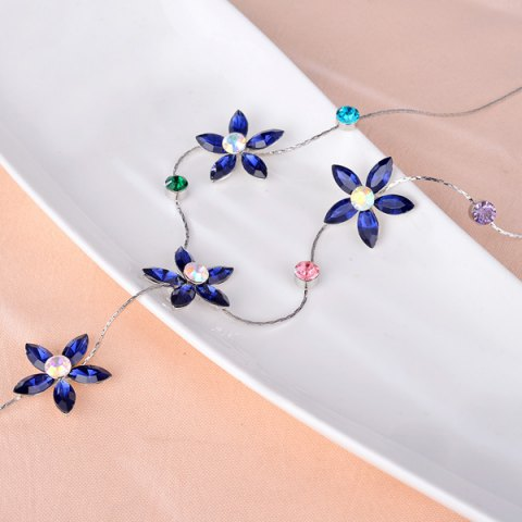 New Faux Crystal Five Petaled Flower Sweater Chain - BLUE  Mobile