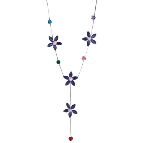 Discount Faux Crystal Five Petaled Flower Sweater Chain