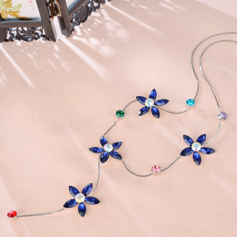 Outfits Faux Crystal Five Petaled Flower Sweater Chain - BLUE  Mobile