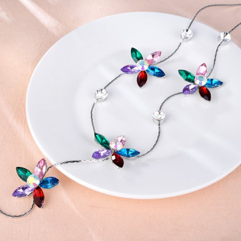 Fashion Faux Crystal Five Petaled Flower Sweater Chain - RED  Mobile
