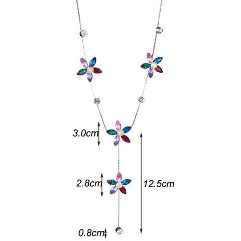 Shops Faux Crystal Five Petaled Flower Sweater Chain - RED  Mobile