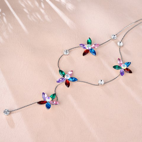 New Faux Crystal Five Petaled Flower Sweater Chain - RED  Mobile
