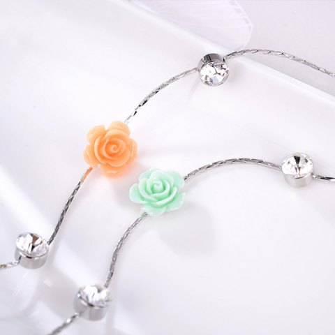 Discount Floral Rhinstone Sweater Chain - ROSE RED  Mobile