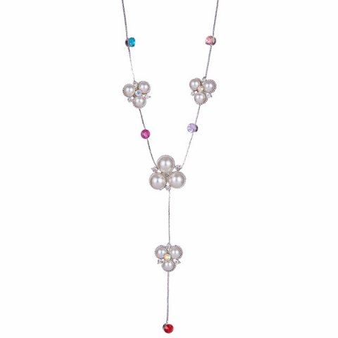 Faux Gemstone Rhinestone Sweater Chain - White