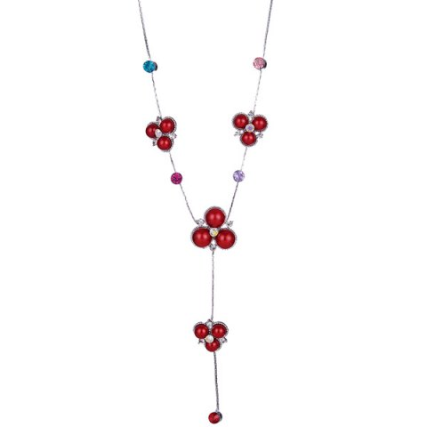 Faux Gemstone Rhinestone Sweater Chain - Red - M