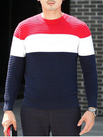Online Textured Crew Neck Striped Pullover Sweater