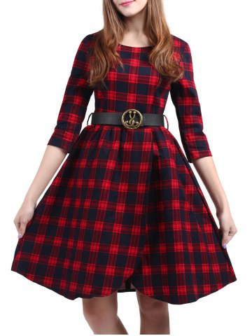 Vintage Plaid genou Pin Up Dress Rouge XL