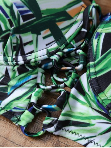 Outfits Tropical Print High Waisted Strappy Bikini - M GREEN Mobile