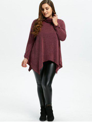 New Loose Turtleneck Asymmetric Plus Size Sweater - XL WINE RED Mobile