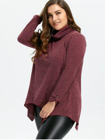 Shops Loose Turtleneck Asymmetric Plus Size Sweater - XL WINE RED Mobile