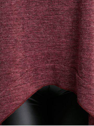 Store Loose Turtleneck Asymmetric Plus Size Sweater - XL WINE RED Mobile