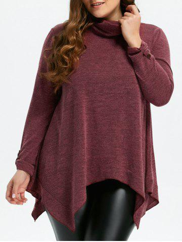 Turtleneck Asymmetric Plus Size Sweater Rouge vineux  XL